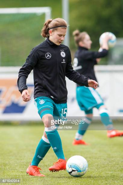 Emilie Bernhardt of Germany in action during the warm up session prior to the Under 15 girls international friendly match between Czech Republic and...