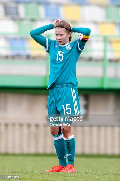 Emilie Bernhardt of Germany is seen during the Under 15 girls international friendly match between Czech Republic and Germany on April 19 2017 at the...
