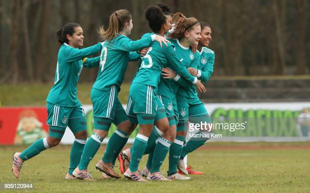 Emilie Bernhardt of Germany jubilates with team mates after scoring the first goal during the UEFA U17 Girl's European Championship Qualifier match...