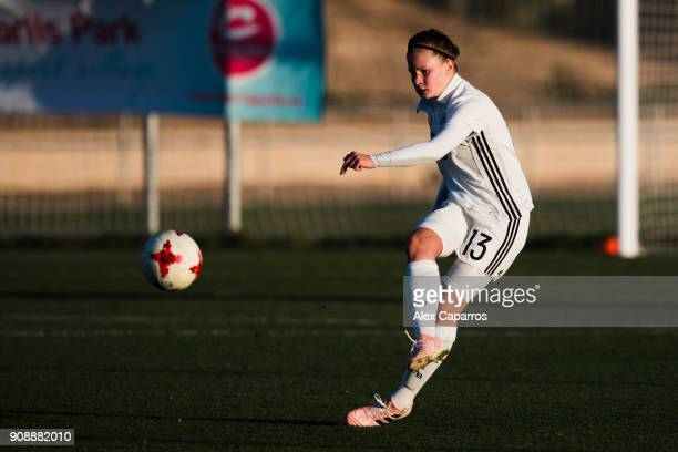 Emilie Bernhardt of Germany plays the ball during the U17 girl's international friendly match between Germany and France on January 20 2018 in Salou...