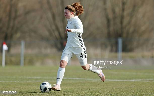 Emilie Bernhardt of Germany runs with the ball during the UEFA U17 Girl's European Championship Qualifier match between Germany and Iceland at neusw...