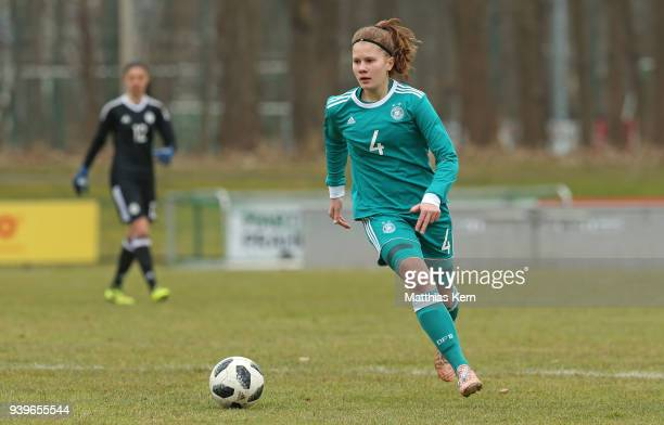 Emilie Bernhardt of Germany runs with the ball during the UEFA U17 Girl's European Championship Qualifier match between Germany and Ireland at...