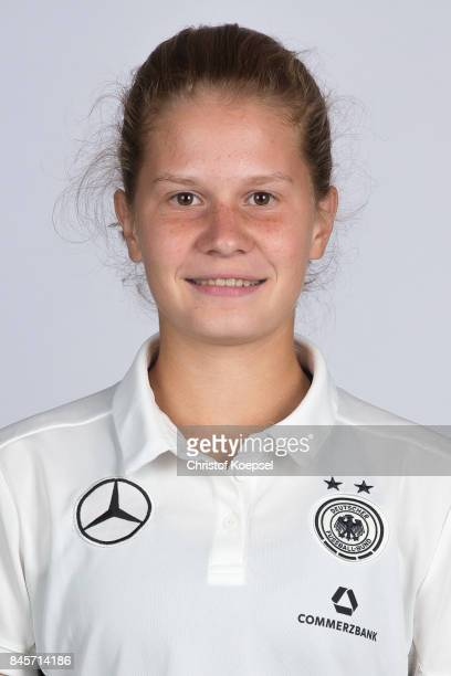Emilie Bernhardt poses during the U16 Germany Girls Team Presentation at Hotel Rheinischer Hof on September 11 2017 in Dinklage Germany