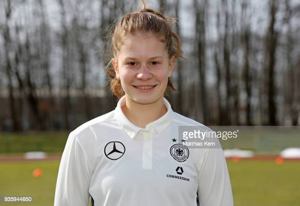 Emilie Bernhardt poses during the U17 Girl's Germany team presentation at Volksstadion on March 21 2018 in Greifswald Germany