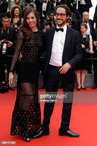 Emilie Broussouloux and Thomas Hollande attend 'Amant Double ' Red Carpet Arrivals during the 70th annual Cannes Film Festival at Palais des...
