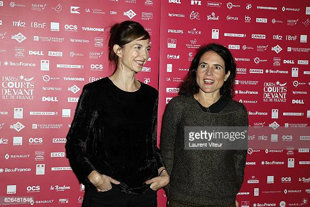 Emilie Caen and Mazarine Pingeot attend 'Courts Devants' Paris Festival at Mk2 Bibliotheque on November 29 2016 in Paris France