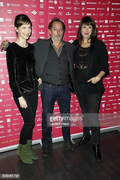 "Emilie Caen, Christophe Aleveque and Serena Reinaldi attend ""Courts Devants"" Paris Festival at Mk2 Bibliotheque on November 29, 2016 in Paris, France."