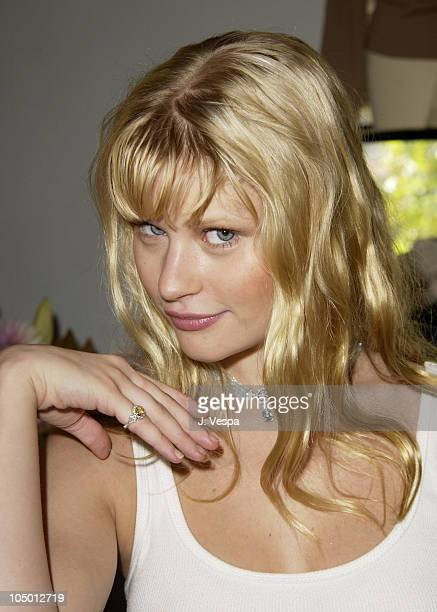 Emilie de Ravin wearing a Tracy Allen pinky ring during The Cabana Beauty Buffet Day 1 at The Chateau Marmont Hotel in Los Angeles California United...