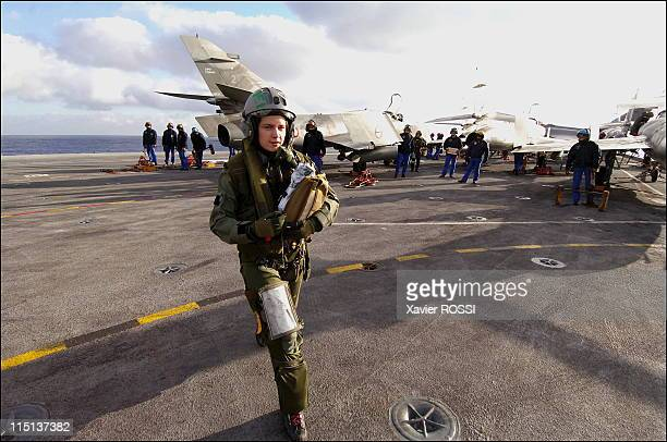 Emilie Denis the first woman fighter pilot of the French Navy in Toulon France on January 18 2006 After a flight