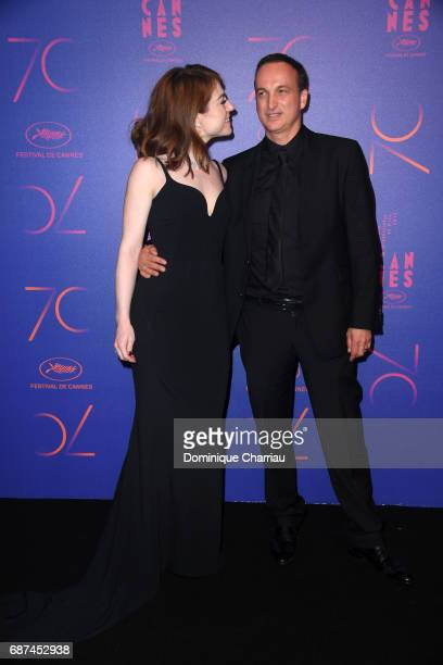 Emilie Dequenne and Michel Ferracci attend the 70th Anniversary Dinner during the 70th annual Cannes Film Festival at on May 23, 2017 in Cannes,...