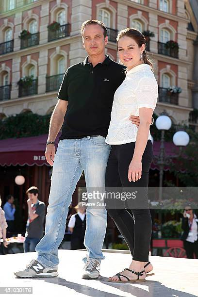 Emilie Dequenne and Michel Ferracci attend the launch of 'Ratatouille:The Adventure' at Disneyland Resort Paris on June 21, 2014 in Paris, France.