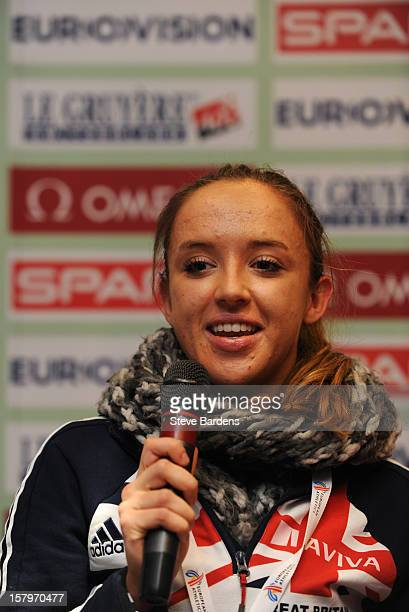 Emilie Gorecka of Great Britain talks to the media during a press conference for the 19th SPAR European Cross Country Championships at the Ramada...