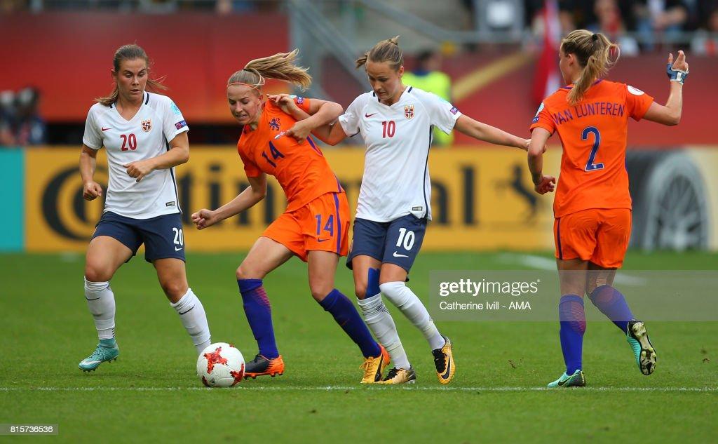 Emilie Haavi of Norway Women,Jackie Groenen of Netherlands Women and Caroline Hansen of Norway Women during the UEFA Women's Euro 2017 Group A match between Netherlands and Norway at Stadion Galgenwaard on July 16, 2017 in Utrecht, Netherlands.