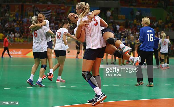 Emilie Hegh Arntzen of Norway and Nora Mork of Norway celebrate after winning the Womens Quarterfinal match between Sweden and Norway on Day 11 of...