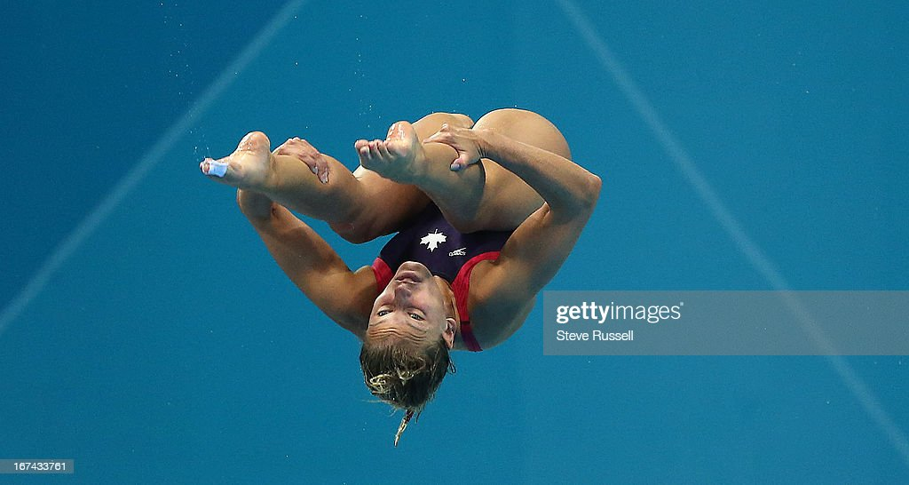 Emilie Heymans dives off the three metre springboard. Jennifer Abel finishes sixth and Emilie Heymans finished last on the three metre springboard final at the London 2012 Olympic Games at the Aquatic Centre.