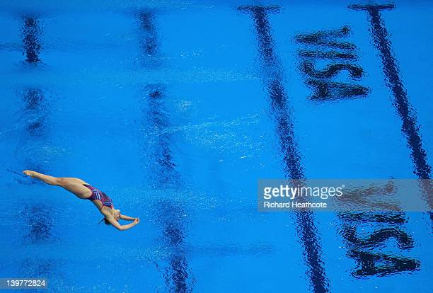 Emilie Heymans of Canada compeates in the Women's 3m Springboard Final during the 18th FINA Visa Diving World Cup at The Aquatics Centre on February...