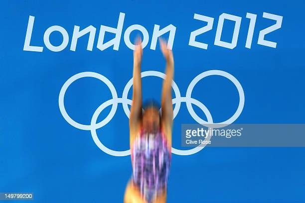 Emilie Heymans of Canada competes in the Women's 3m Springboard Diving Semifinal on Day 8 of the London 2012 Olympic Games at the Aquatics Centre on...