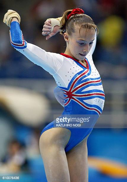 Emilie Le Pennec of France performs on the floor in the women's Artistic Gymnastics qualifications 15 August 2004 at the Olympic Indoor Hall during...
