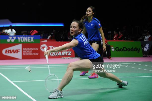 Emilie Lefel and Anne Tran of France compete against Huang Dongping and Yu Zheng of China during Preliminary Round on day two of the BWF Thomas Uber...