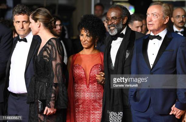 "Emilie Lescaux, Kelber Mendonca Filho, Danny Barbosa, Wilson Rabelo, Udo Kier attend the screening of ""Bacurau"" during the 72nd annual Cannes Film..."