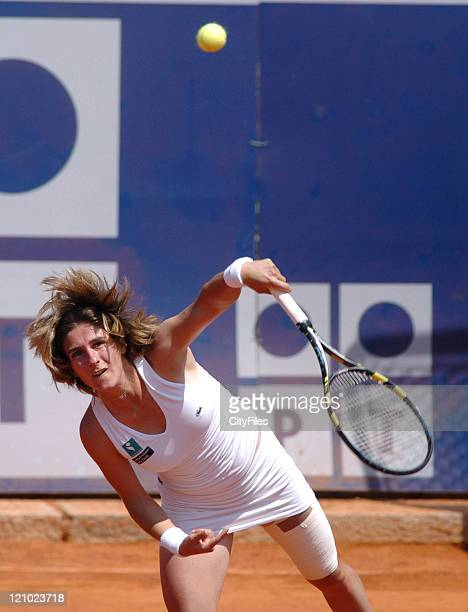 Emilie Loit during a match against Frederica Piedade in the first round of the 2006 Estoril Open at Estadio Nacional in Estoril Portugal on May 2 2006