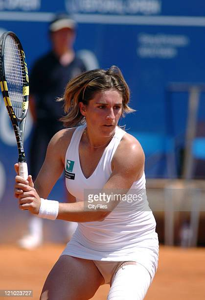 Emilie Loit in her game against Frederica Piedade in the first round of the 2006 Estoril Open at Estadio Nacional in Estoril Portugal on May 2 2006