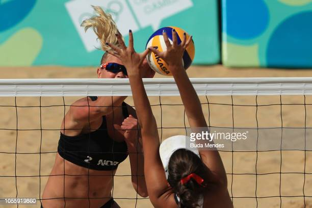 Emilie Olimstad of Nowray attacks during Women's Bronze Medal Match against United States on day 11 of Buenos Aires 2018 Youth Olympic Games at Green...