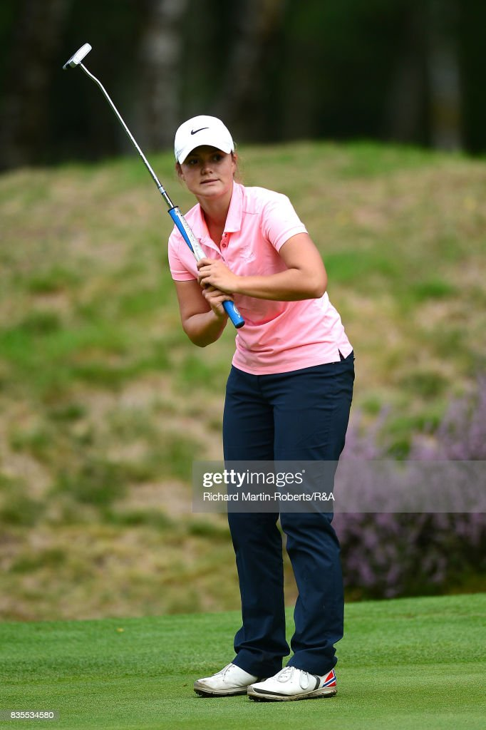 Emilie Overas of Norway reacts to a putt during her semi-final match against Elena Moosmann of Switzerland during the Girls' British Open Amateur Championship at Enville Golf Club on August 19, 2017 in Stourbridge, England.