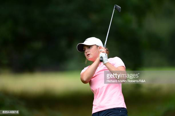 Emilie Overas of Norway tees off during her semifinal match against Elena Moosmann of Switzerland during the Girls' British Open Amateur Championship...