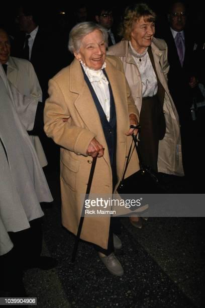 Emilie Schindler, wife of Oskar Schindler, attends the premiere of Steven Spielberg's film Schindler's List.