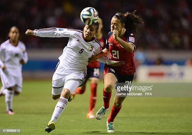 Emilie Valenciano of Costa Rica battles with Daniuske Rodriguez of Venezuela during the FIFA U17 Women's World Cup Group A match between Costa Rica...