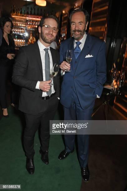 Emilien Boutillat and Robert Walton attend the launch of Champagne Armand de Brignac Blanc de Blancs en Magnum at Casa Cruz on March 13 2018 in...