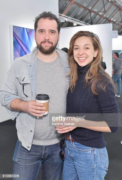 Emilien Crespo and Charlotte Taschen at OPENING NIGHT   ART LOS ANGELES CONTEMPORARY 9TH EDITION at Barkar Hangar on January 25 2018 in Santa Monica...