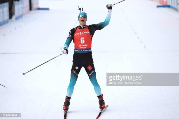 Emilien Jacquelin of France celebrates winning the Men 12.5 km Pursuit Competition at the IBU World Championships Biathlon Antholz-Anterselva on...