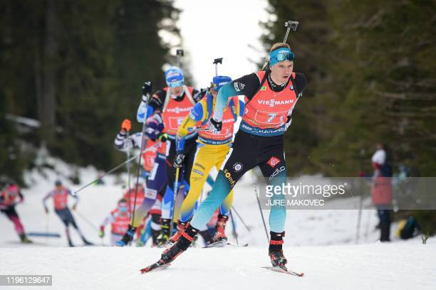 Emilien Jacquelin of France competes during the IBU Biathlon World Cup Single Mixed Relay event at Pokljuka on January 25 2020