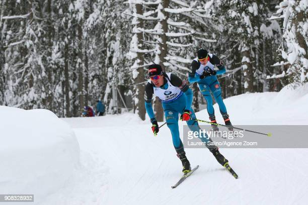 Emilien Jacquelin of France competes Quentin Fillon Maillet of France competes during the IBU Biathlon World Cup Men's and Women's Mass Start on...