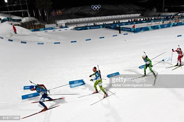 Emilien Jacquelin of France in action during the Biathlon Men's 20km Individual at Alpensia Biathlon Centre on February 15 2018 in Pyeongchanggun...