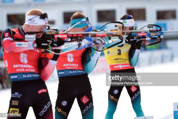 Emilien Jacquelin of France in action during the IBU Biathlon World Championships Women's 10 km Pursuit Competition on February 16 2020 in Antholz...
