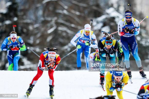 Emilien Jacquelin of France takes 3rd place during the IBU Biathlon World Cup Men's Relay on January 18, 2019 in Ruhpolding, Germany.