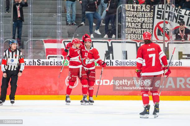 Emilijus Krakauskas celebrates his goal with Guillaume Maillard of Lausanne HC during the Swiss National League game between Lausanne HC and SC Bern...