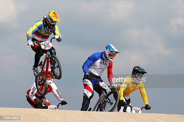 Emilio Andres Falla Buchely of Ecuador clears a jump with the field during the Men's BMX Cycling Quarter Finals on Day 13 of the London 2012 Olympic...