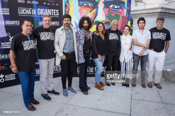 Emilio Aragon Carlos Vega Hernan Zin 3th L Angels Barcelo and Ara Malikian present the 'Lucha de Gigantes' project at Teatro Real on September 10...