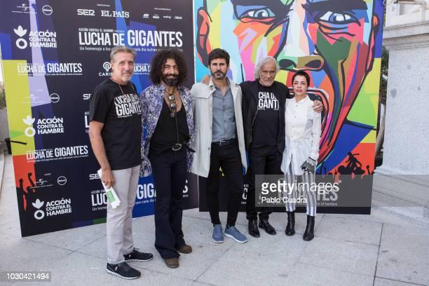 Emilio Aragon Carlos Vega Hernan Zin and Ara Malikian present the 'Lucha de Gigantes' project at Teatro Real on September 10 2018 in Madrid Spain
