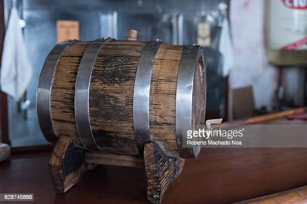 Emilio Bacardi House of Rum brand name labels in oak wooden barrels of the drink The place is a tourist attraction in the tropical city