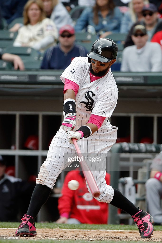 Emilio Bonifacio #64 of the Chicago White Sox hits an RBI single against the Cincinnati Reds during the eighth inning on May 10, 2015 at U.S. Cellular Field in Chicago, Illinois. The Chicago White Sox won 4-3.