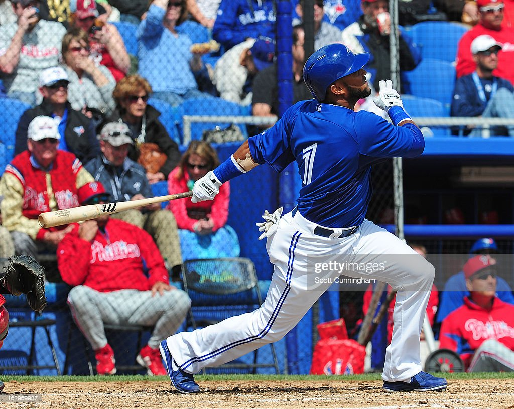 Emilio Bonifacio #1 of the Toronto Blue Jays hits a second inning home run during a spring training game against the Philadelphia Phillies at Florida Auto Exchange Stadium on March 2, 2013 in Dunedin, Florida.