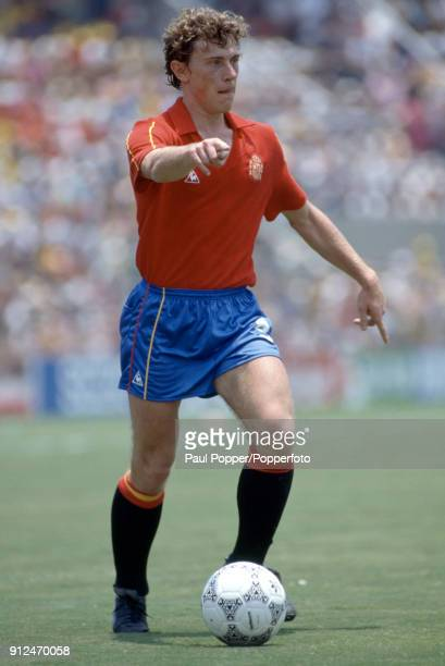 Emilio Butragueno in action for Spain during the FIFA World Cup match between Northern Ireland and Spain at the Estadio Tres de Marzo in Guadalajara...