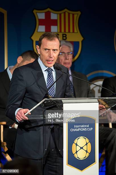 Emilio Butragueno of Real Madrid address the crowd including legends Mauro Tassotti of AC Milan Emilio Butragueno of Real Madrid Youri Djorkaeff of...
