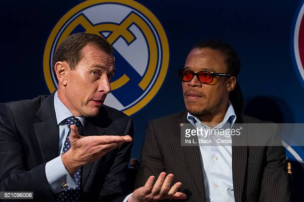 Emilio Butragueno of Real Madrid talks with fellow legend Edgar Davis of FC Barcelona and other legends Mauro Tassotti of AC Milan Emilio Butragueno...