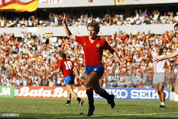 Emilio Butragueno of Spain celebrates after scoring his third of four goals during the 1986 FIFA World Cup Finals Second Round match between Spain...